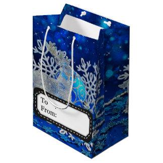 Zilveren blauwe ornamenten medium cadeauzakje