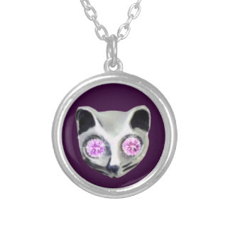 Zilveren Kat met diamantogen Zilver Vergulden Ketting