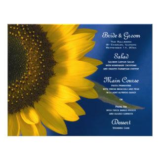 Zonnebloem op het Blauwe Menu van het Huwelijk Folder Ontwerp