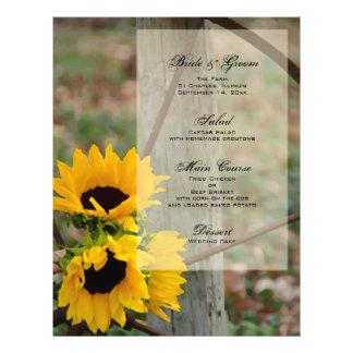 Zonnebloemen en het Menu van het Huwelijk van het Folder