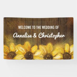 Zonnebloemen op Houten | Onthaal aan het Huwelijk Spandoek