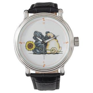 Zonnige Pugs Horloge