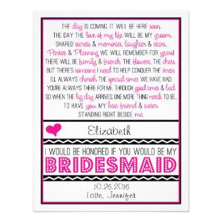 Zult u mijn Bruidsmeisje zijn De roze Zwarte Kaar Persoonlijke Uitnodigingen