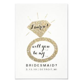 Zult u Mijn Kaart van het Bruidsmeisje - Glit 8,9x12,7 Uitnodiging Kaart