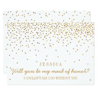 Zult u Mijn Vintage Gouden Confettien van het 12,7x17,8 Uitnodiging Kaart