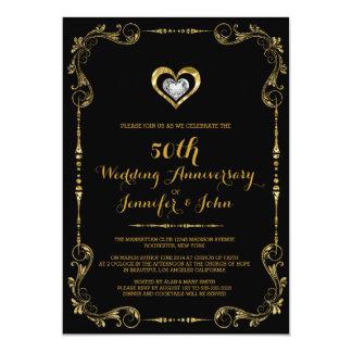 Zwart & Gouden Lijst, het Zilveren Jubileum van 12,7x17,8 Uitnodiging Kaart