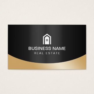 Zwart & Gouden Logo van het Huis van de Makelaar Visitekaartjes
