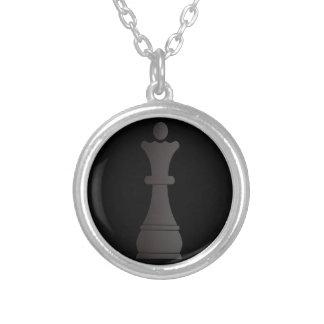 Zwart koninginschaakstuk zilver vergulden ketting