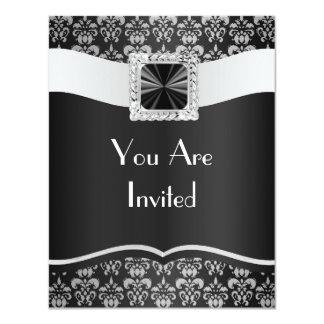Zwart & wit damast kaart