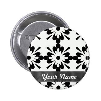 Zwart & wit modern damast ronde button 5,7 cm