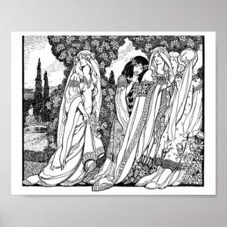 Zwart-witte Middeleeuwse Modes Poster