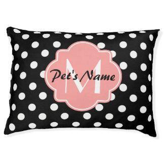 Zwart-witte Stippen met Roze Monogram Hondenbedden