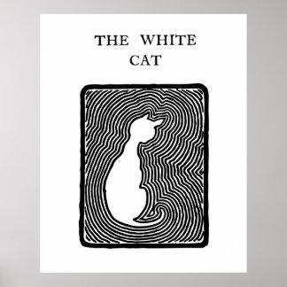 Zwart-witte vectorkunst de Witte Kat Poster