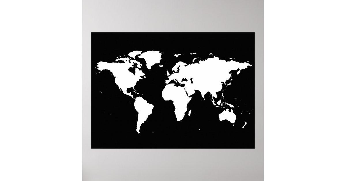 zwart-witte wereldkaart poster | zazzle.be