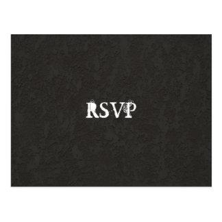 Zwarte Gothic Gebarsten RSVP Briefkaart