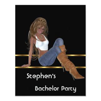 Zwarte Goud van het Meisje van de Jeans van de 10,8x13,9 Uitnodiging Kaart
