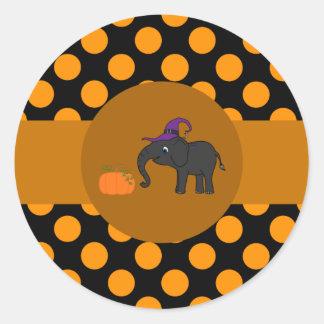 Zwarte Olifant met Pompoen & Oranje Stip Ronde Stickers